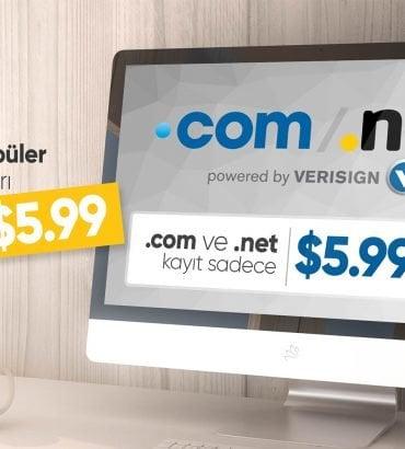 .COM ve .NET Uzantılı Alan Adlarını Şimdi Sadece $5.99'a Kayıt Edebilirsiniz