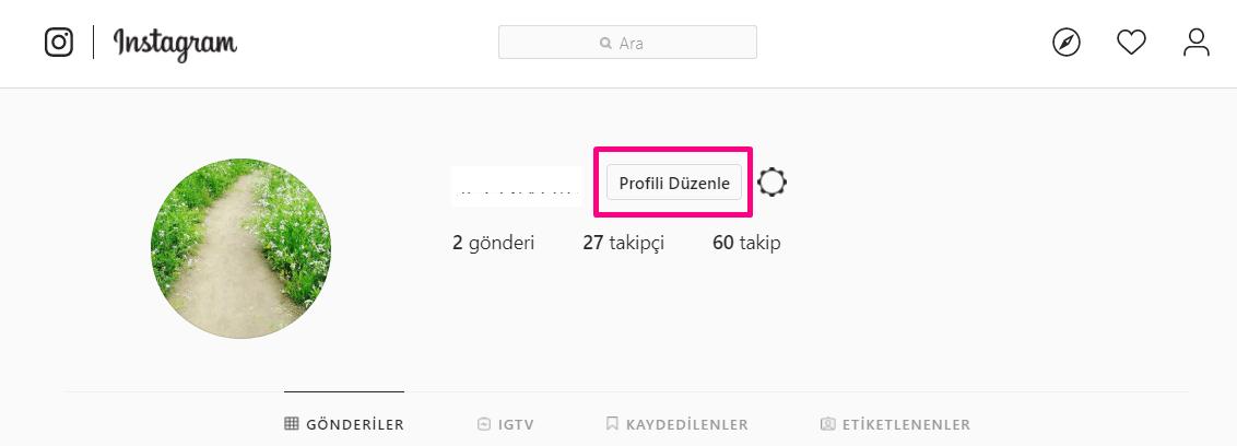 instagram profili düzenle