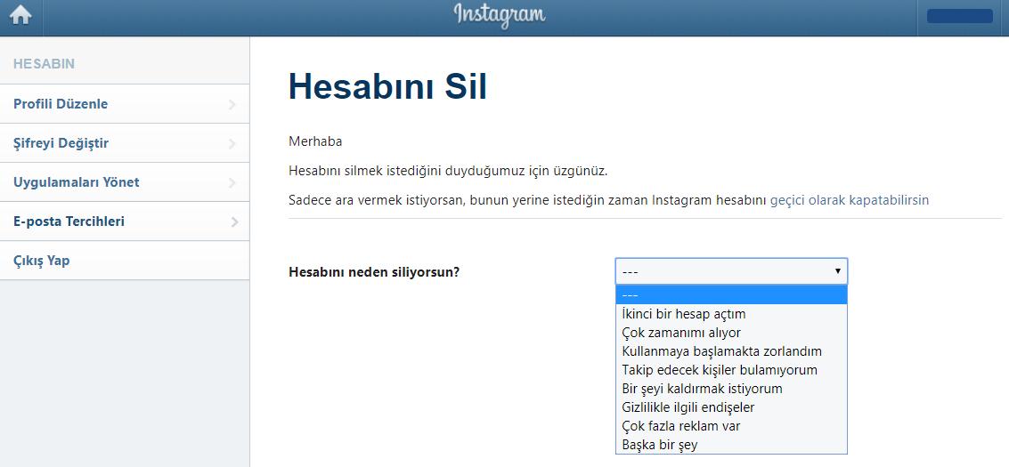 instagram hesabı dondurma sebepleri