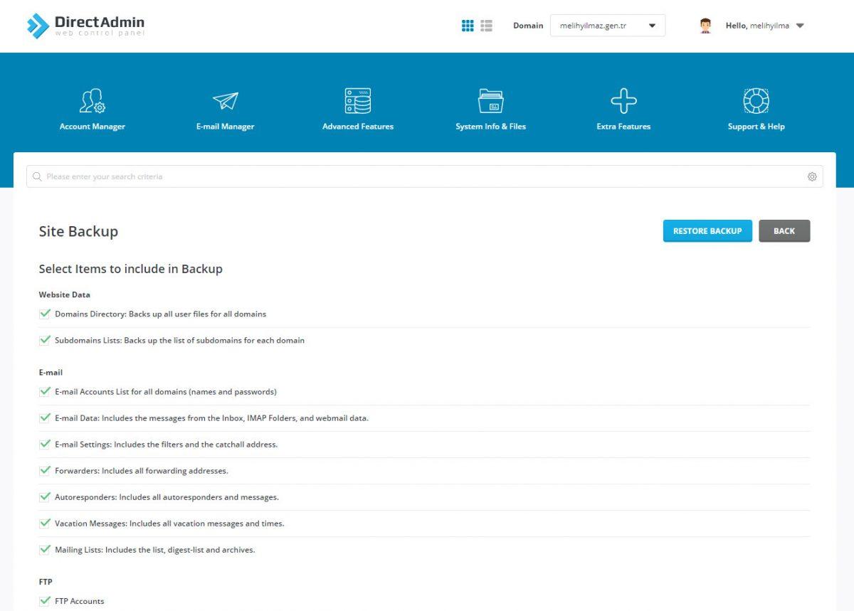 Site Yedekleme Direct Admin