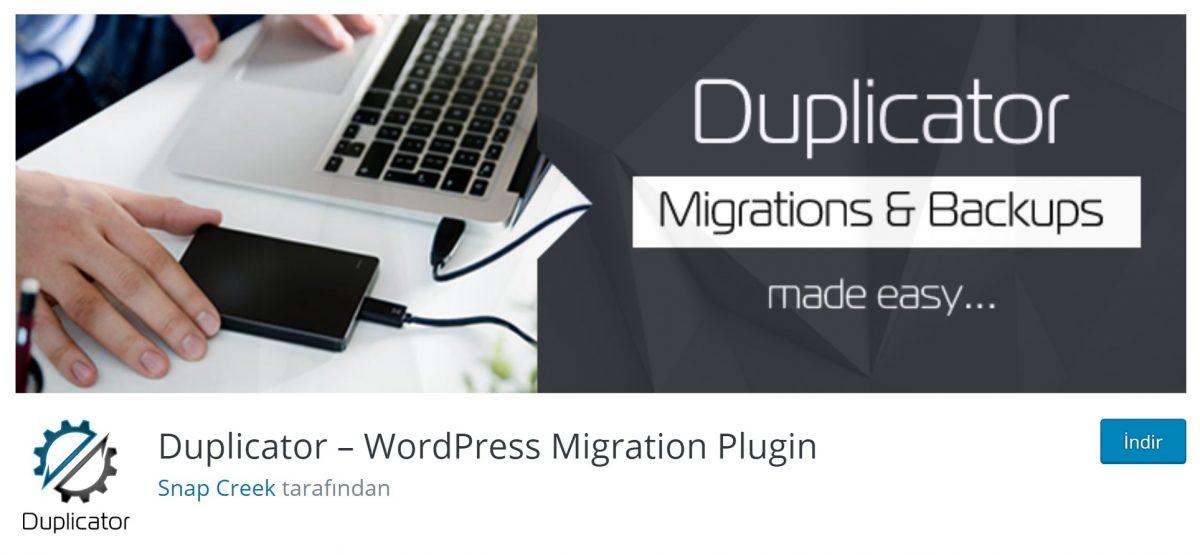 Duplicator Wp taşıma eklentileri