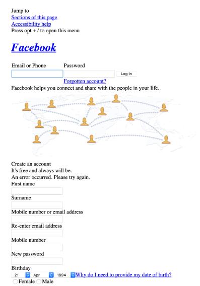 CSS OLMADAN FACEBOOK