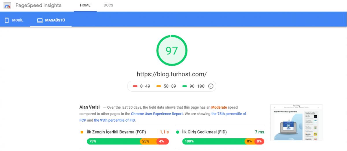 PageSpeed Insights sonuçlarında 90 veya üzeri hızlı, 50 ile 90 arası ortalama, 50 puanının altı ise yavaş olarak kabul ediliyor.