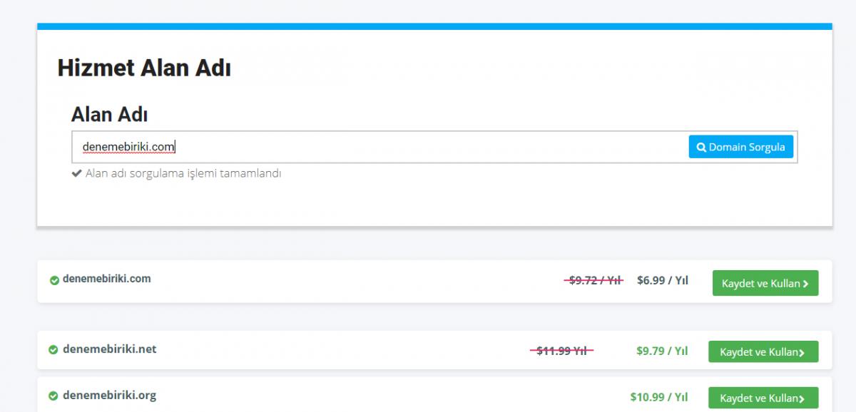 Domain sorgulama aracı paneli