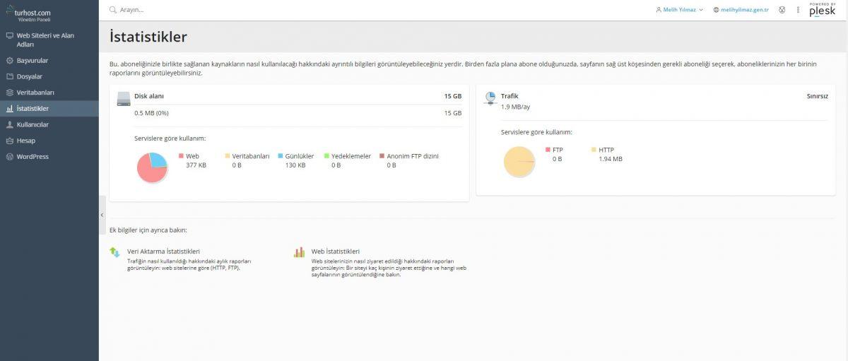 Plesk ile veritabanlarını yönetebilir ve web sitenizin hangi bölümlerinin en fazla disk alanı kullandığını görebilirsiniz.