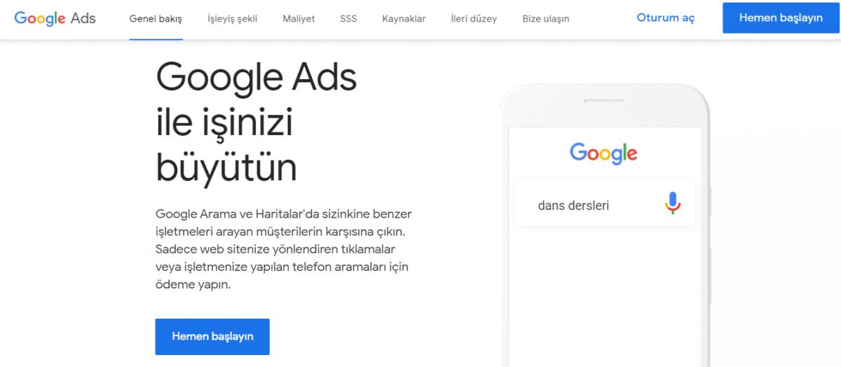 Google Ads, işletme sahiplerinin tıklama başına ödeme yapacakları şekilde reklam oluşturabilecekleri bir platformdur.