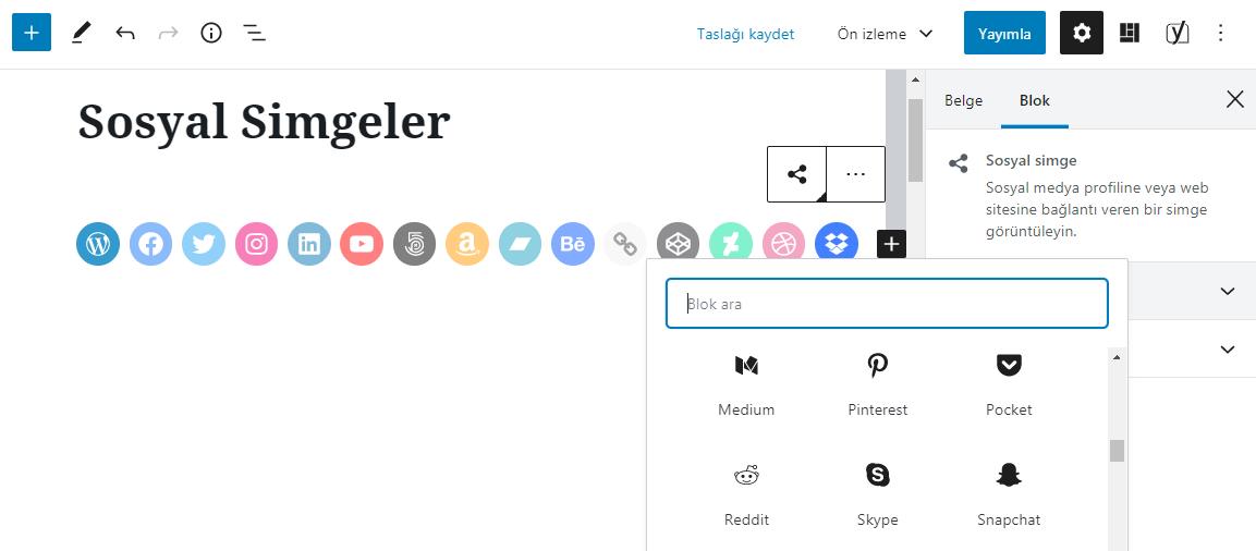 Wordpress 5.4 Sosyal imgeler