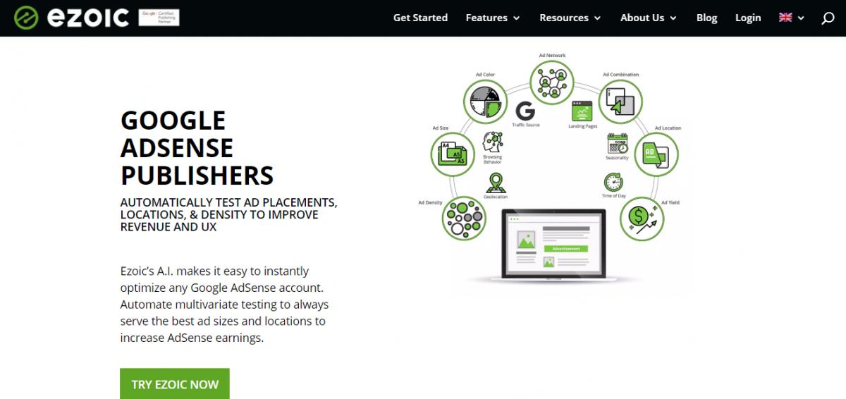 Ezoic; AdSense kazançlarını artırmak için otomatik olarak optimizasyon yapan ücretsiz bir yapay zeka aracı.