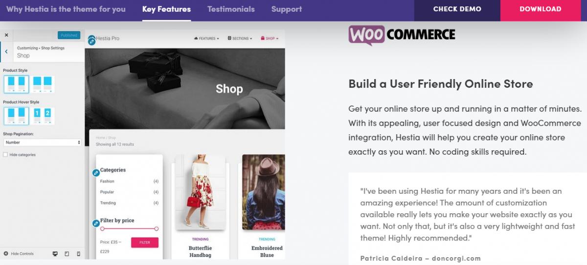 Elementor, Beaver Builder ve SiteOrigin gibi en popüler sayfa oluşturucular ile uyumlu olan Hestia'nın ücretsiz versiyonu, tek sayfalık tasarıma; modern bir e-ticaret sitesini sığdırabilir!