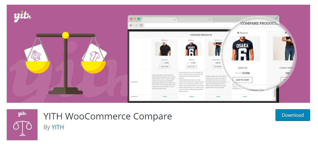 YITH WooCommerce Compare, kullanıcı deneyimini önemseyen e-ticaret sitelerinin müşterilerine ürün karşılaştırma aracı sunabilmeleri için geliştirilmiş bir WooCommerce eklentisi.
