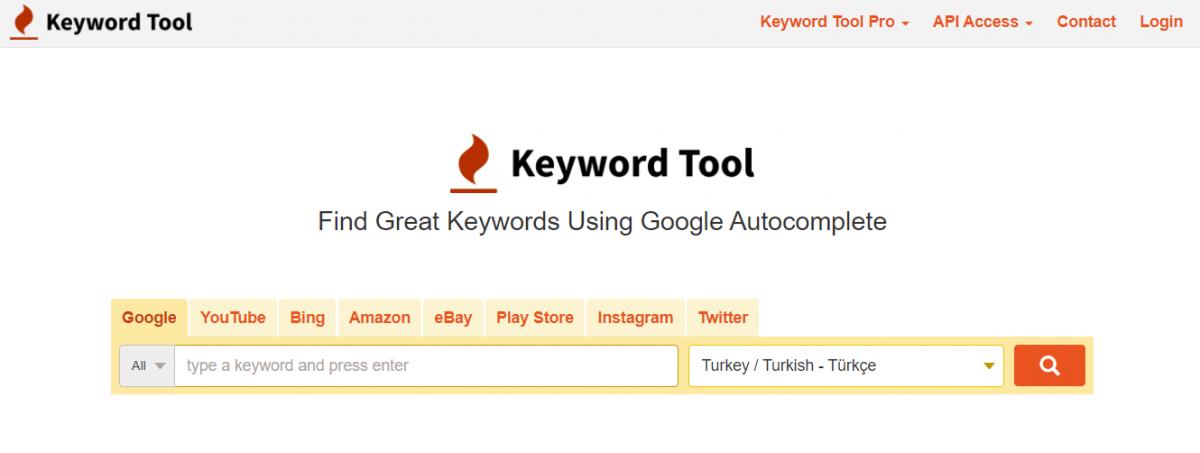 en iyi ücretsiz seo araçları, dijital pazarlama aracı, Keywordtool.io