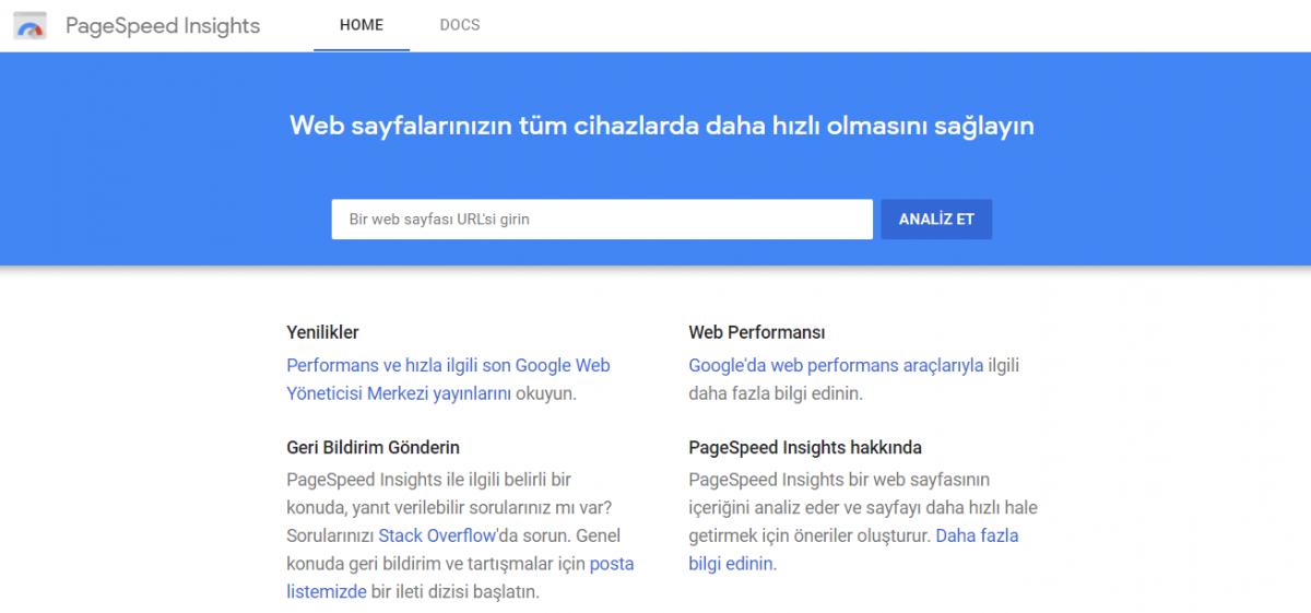 en iyi ücretsiz seo araçları, dijital pazarlama aracı, Google PageSpeed Insights