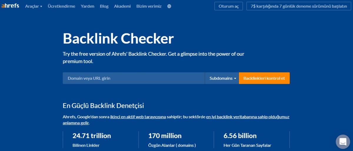 en iyi ücretsiz seo araçları, dijital pazarlama aracı, Ahrefs Backlink Checker, geri bağlantı, rakip analizi