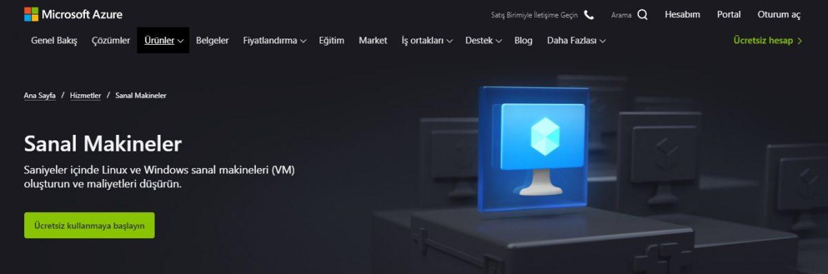 Microsoft Azure, Azure VM (Sanal Makineler), Azure bulut hizmetleri