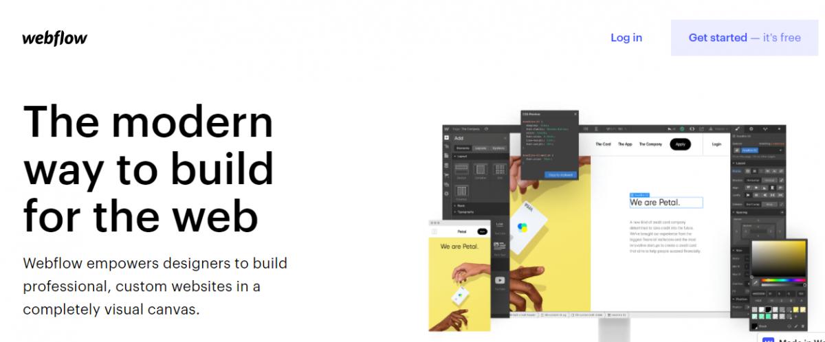 web tasarım programları, Web tasarım araçları, web tasarım platformları, Webflow