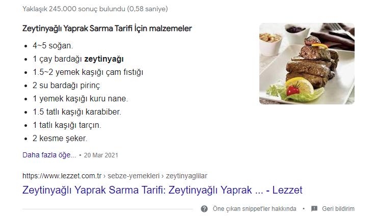 Google SERP - Rich snippet - Tarif