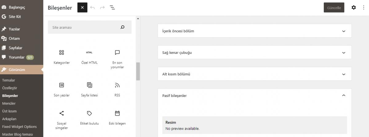 WordPress 5.8'deki Yenilikler